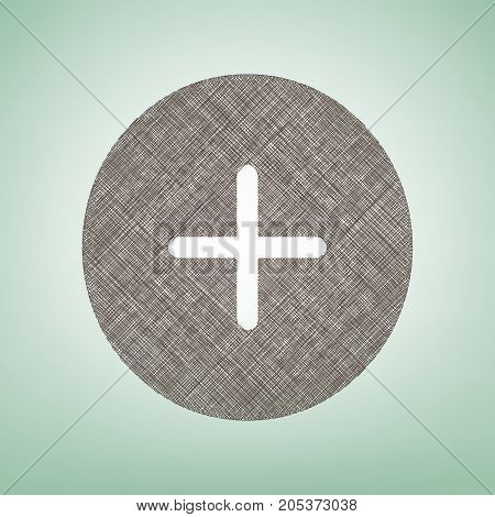Positive symbol plus sign. Vector. Brown flax icon on green background with light spot at the center.