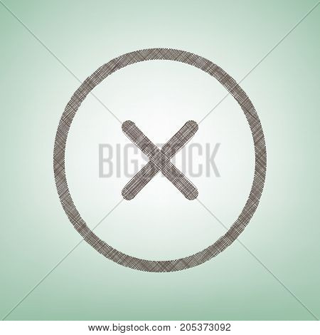 Cross sign illustration. Vector. Brown flax icon on green background with light spot at the center.