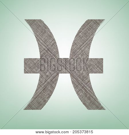 Pisces sign illustration. Vector. Brown flax icon on green background with light spot at the center.