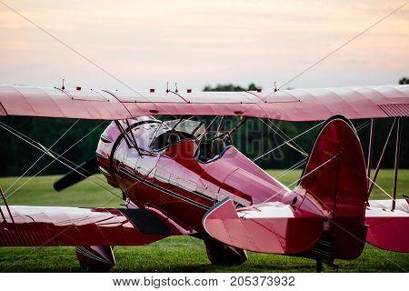 Waco biplane preparing for takeoff at the 2016 Flying Circus Airshow in Bealeton Virginia