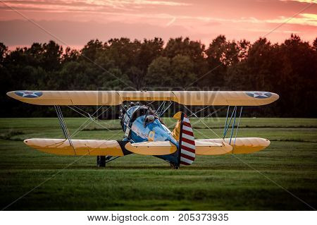 Biplane preparing for takeoff at the 2016 Flying Circus Airshow in Bealeton Virginia