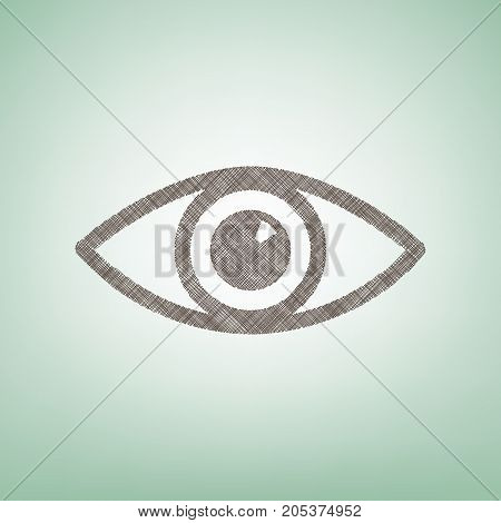 Eye sign illustration. Vector. Brown flax icon on green background with light spot at the center.