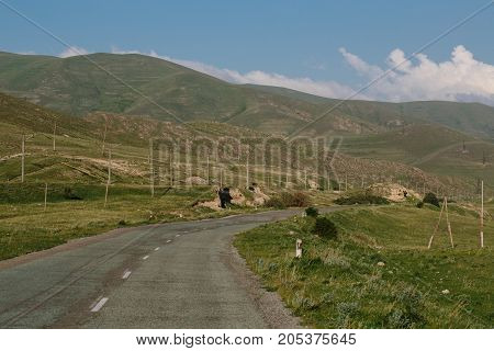Road in Armenia. horizontal shot in the afternoon