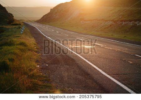 Road at sunset, Armenia. sunset horizontal shot