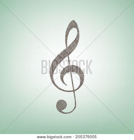 Music violin clef sign. G-clef. Treble clef. Vector. Brown flax icon on green background with light spot at the center.