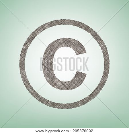 Copyright sign illustration. Vector. Brown flax icon on green background with light spot at the center.