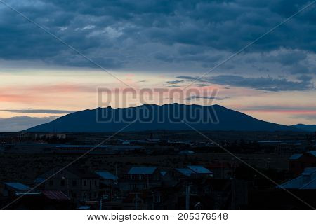clouds over the mountain Yerevan, Armenia. evening horizontal shot