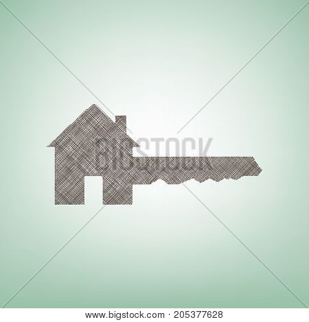 Home Key sign. Vector. Brown flax icon on green background with light spot at the center.