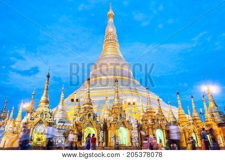 Shwedagon Pagoda, Shwedagon Zedi Daw, Great Dagon Pagoda and the Golden Pagoda in Yangon, Myanmar