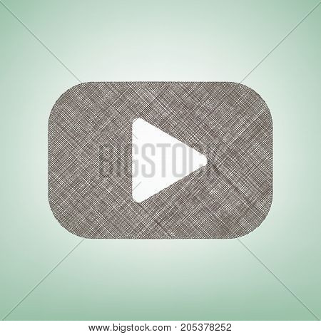 Play button sign. Vector. Brown flax icon on green background with light spot at the center.