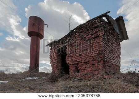 Old rusty water tower. horizontal day shot