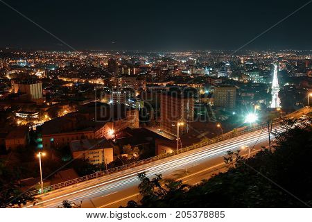 Night Yerevan, Armenia. vertical shot with long exposure