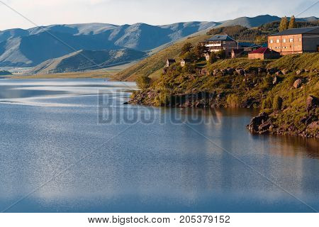 Aparan Reservoir Aragat region Armenia. horizontal shot in the afternoon