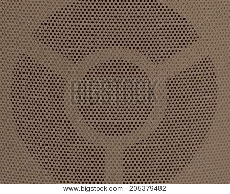 Background Pattern Horizontal Texture of Brown Metallic Perforated Grid with Copy Space for Text Decorated.