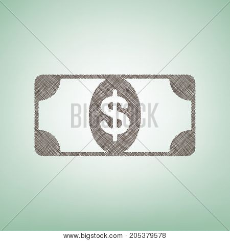 Bank Note dollar sign. Vector. Brown flax icon on green background with light spot at the center.