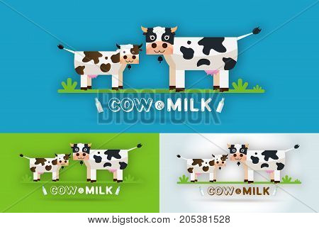 Cow Milk Farm Logo design vector template. Label sticker icon. Symbol for milk and skim. Web graphics banners advertisements brochures business templates. Isolated on a blue background