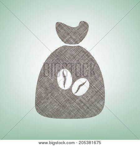 Coffee bag Icon. Coffee bag. Vector. Coffee bag Icon Button. Vector. Brown flax icon on green background with light spot at the center.