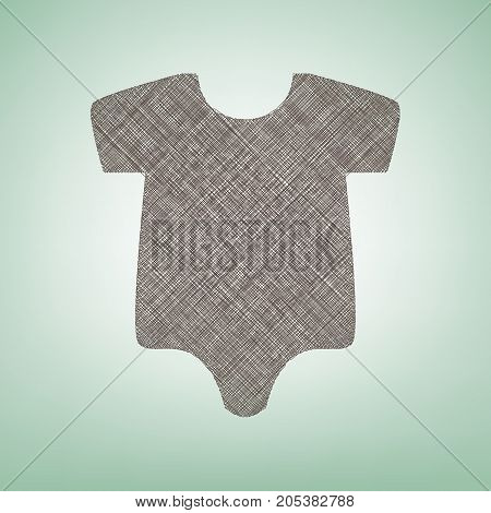 Baby cloth illustration. Vector. Brown flax icon on green background with light spot at the center.