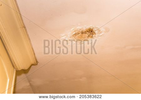 Roof Leakages Results Damage Ugly Corrosion On Plaster Ceiling