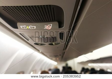 Air Cabin No Electronics And Fasten Seat Belt Signage