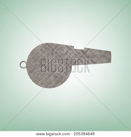 Whistle sign. Vector. Brown flax icon on green background with light spot at the center.