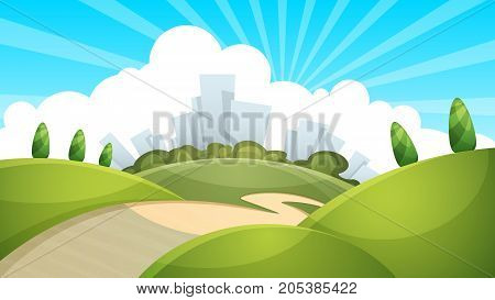 Landscape, city cloud sun Vector eps 10