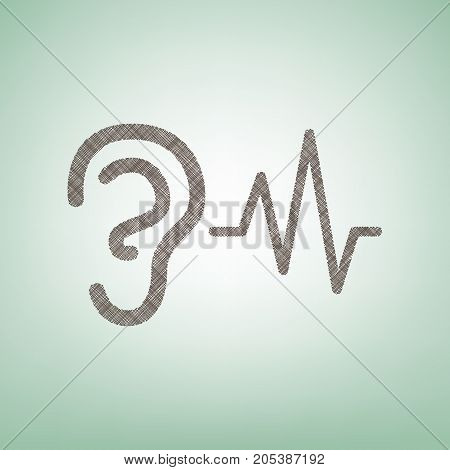 Ear hearing sound sign. Vector. Brown flax icon on green background with light spot at the center.