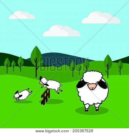 Sheep jumping over a fence in a grassy field background vector illustration.