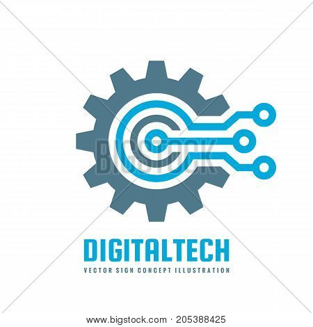 Digital tech - vector business logo template concept illustration. Gear electronic factory sign. Cog wheel technology symbol. SEO emblem. Design element.