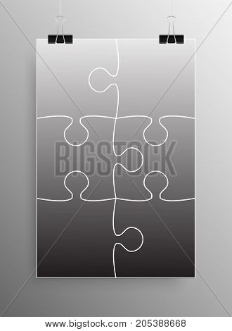 Vertical Poster Banner A4 Sized Vector Paper Clips. Grey Puzzle Pieces Arranged in a Square - JigSaw - Vector Illustration. Jigsaw Puzzle Blank Template or Cutting Guideline. Vector Background.