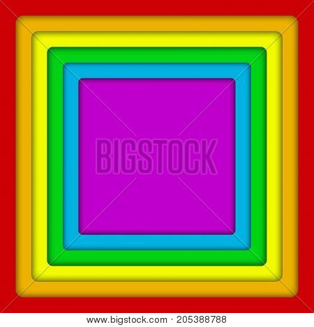 Vector Concentric Square LGBT Elements Background. Lgbt Rainbow Flag. Gay Squares Colors. Gay Community Symbol. Vector Background.