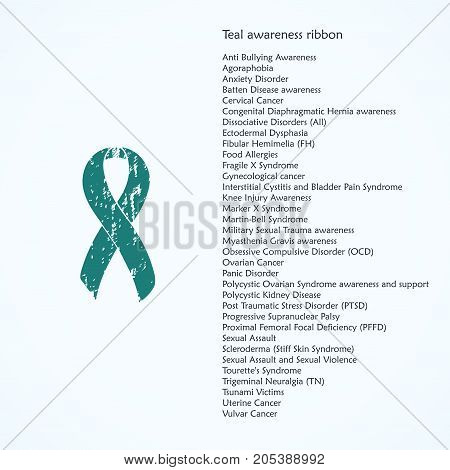 Awareness Teal ribbon Painted. Uterine, Vulvar, Gynecological Cancer, Knee Injury, Anti Bullying, Agoraphobia, Anxiety Disorder, Food Allergies, Panic Disorder. List of meanings, symbol, name of color