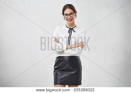 Optics Advertisement. Portrait Of Beautiful Smiling Young European Woman Corporate Worker Wearing Ey