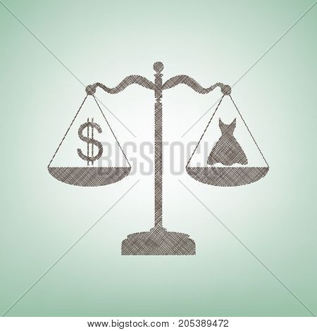 Dress and dollar symbol on scales. Vector. Brown flax icon on green background with light spot at the center.