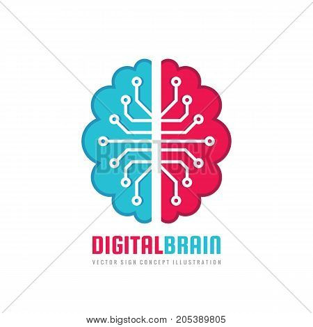 Digital human brain - vector logo template concept illustration. Mind sign. Education thinking symbol. Creative idea icon. Left and right hemispheres.