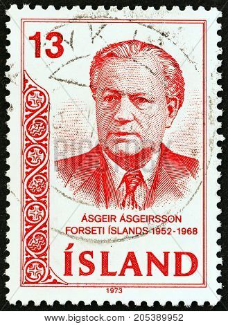 ICELAND - CIRCA 1973: A stamp printed in Iceland issued for the 5th death anniversary of Asgeir Asgeirsson shows President Asgeir Asgeirsson, circa 1973.