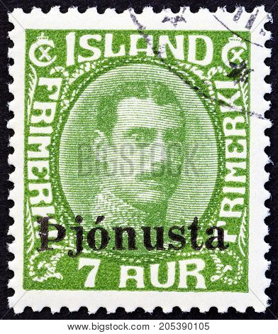 ICELAND - CIRCA 1936: A stamp printed in Iceland shows King Christian X, circa 1936.