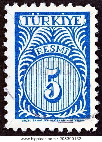 TURKEY - CIRCA 1958: A stamp printed in Turkey shows numeric value, circa 1958.