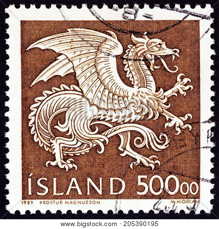 ICELAND - CIRCA 1989: A stamp printed in Iceland shows National Guardian Spirit, Dragon, circa 1989.