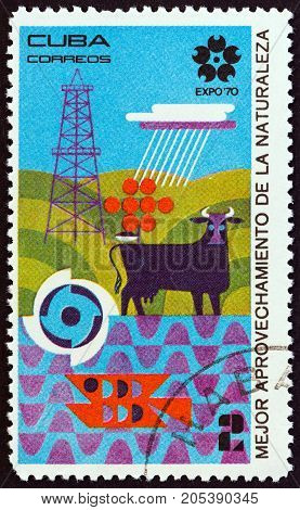 CUBA - CIRCA 1970: A stamp printed in Cuba from the