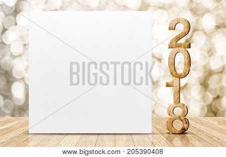 2018 Happy New Year Glitter Number And White Card In Perspective Room With Sparkling Gold Bokeh Wall
