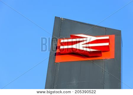 Northampton, UK - Sep 09, 2017: Low angle morning view of British Rail logo at Northampton Train Station.