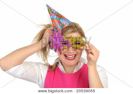 Pretty Party Female Celebrating Birthsday And Having Fun. Isolated