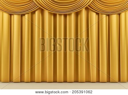 Beautiful gold stage curtain. 3 d rendering