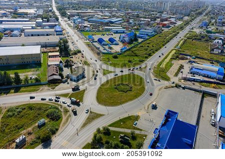 City Road Intersection From The Air. Tyumen