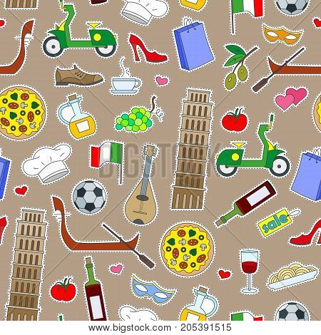 Seamless pattern on the theme of journey in the country of Italy simple colored icons patches on a brown background