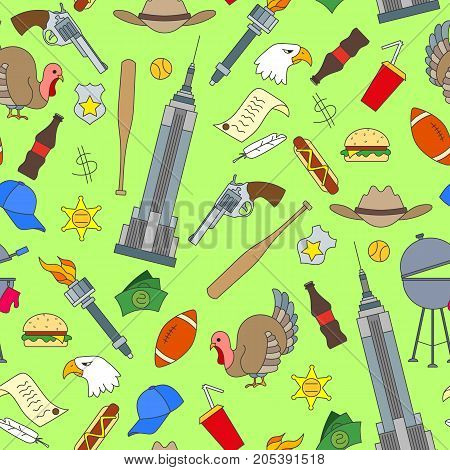 Seamless pattern on the theme of journey in the country of America simple painted icons on green background