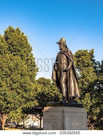 Baltimore Maryland USA - July 9 2017: Statue of General Samuel Smith on top of Federal Hill. Smith was an officer in the Continental Army Congressman Senator and mayor of Baltimore.