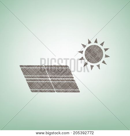 Solar energy panel. Eco trend concept sign. Vector. Brown flax icon on green background with light spot at the center.