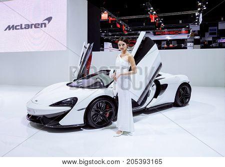 Bangkok Motor show Thailand - April 062017 : Mclaren motor show booth.